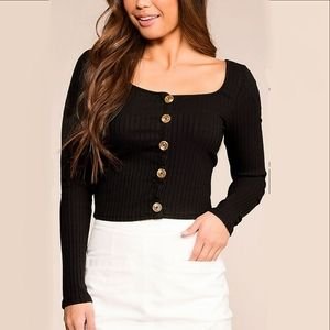 NEW Black Ribbed Long sleeve crop top Womens Large